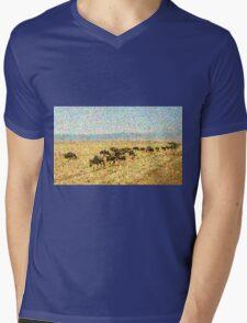 Wildebeest Migration in Pointillism Mens V-Neck T-Shirt