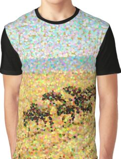 Wildebeest Migration in Pointillism Graphic T-Shirt