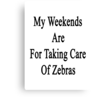 My Weekends Are For Taking Care Of Zebras  Canvas Print