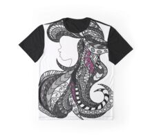 Ariel Stain glass grey and Pink Graphic T-Shirt