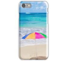 Beach umbrellas and chair by the ocean iPhone Case/Skin