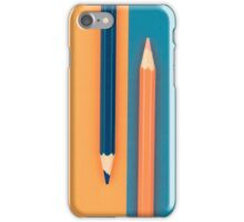 Orange and Dark Blue coloured pencils and paper iPhone Case/Skin