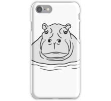 nilpferd dick wasser schwimmen dick groß see tümpel comic cartoon  iPhone Case/Skin