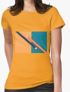 Orange and Dark Blue coloured pencils and paper Womens Fitted T-Shirt