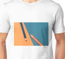 Orange and Dark Blue coloured pencils and paper Unisex T-Shirt