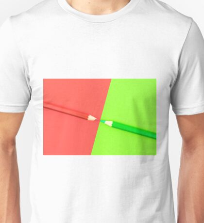 Green and Red coloured pencils and paper Unisex T-Shirt