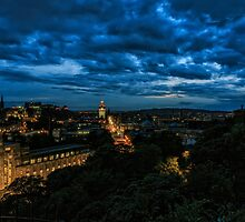 Edinburgh Skyline before the Military Tattoo Fireworks by Miles Gray