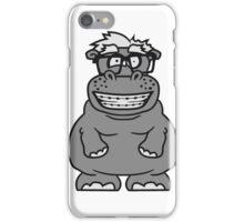 nerd geek schlau hornbrille freak dumm zahnspange kleines lustiges süßes niedliches dickes comic cartoon nilpferd fett hippo  iPhone Case/Skin