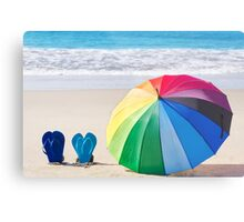 Summer background with rainbow umbrella and flip flops Metal Print