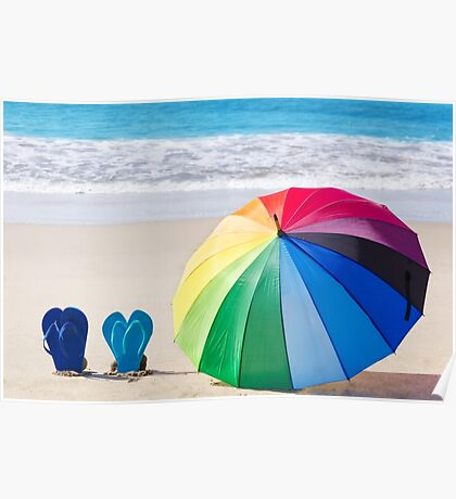 Summer background with rainbow umbrella and flip flops Poster