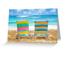 Beach chairs by the ocean Greeting Card