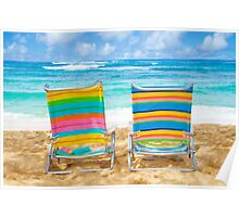 Beach chairs by the ocean Poster
