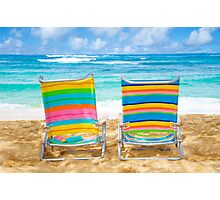 Beach chairs by the ocean Photographic Print