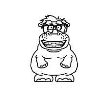nerd geek schlau hornbrille freak dumm zahnspange kleines lustiges süßes niedliches dickes comic cartoon nilpferd fett hippo  Photographic Print