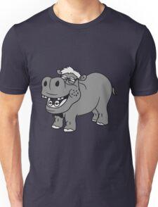 nerd geek schlau freak dumm pickel zahnspange hornbrille lustig kleines süßes niedliches baby kind nilpferd glücklich  Unisex T-Shirt
