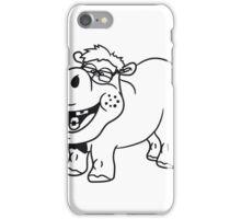 nerd geek schlau freak dumm pickel zahnspange hornbrille lustig kleines süßes niedliches baby kind nilpferd glücklich  iPhone Case/Skin