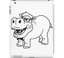 nerd geek schlau freak dumm pickel zahnspange hornbrille lustig kleines süßes niedliches baby kind nilpferd glücklich  iPad Case/Skin