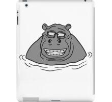 nerd geek hornbrille schlau klug pickel freak zahspange lustig nilpferd dick wasser schwimmen dick groß see tümpel comic cartoon  iPad Case/Skin