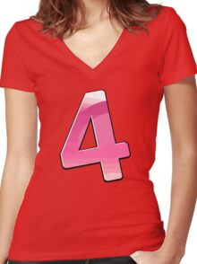 Cartoon Number 4 Women's Fitted V-Neck T-Shirt