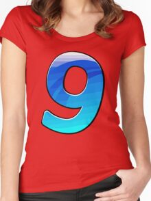 Cartoon Number 9 Women's Fitted Scoop T-Shirt