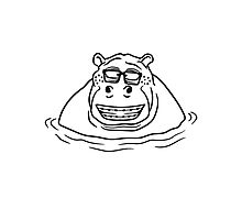 nerd geek hornbrille schlau klug pickel freak zahspange lustig nilpferd dick wasser schwimmen dick groß see tümpel comic cartoon  Photographic Print