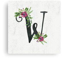 MonogramW with Floral Wreath Canvas Print
