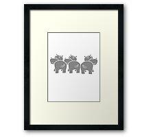 muster drei 3 team freunde gruppe party popo arsch hintern lustig comic dick cartoon kleines süßes niedliches baby kind nilpferd glücklich  Framed Print