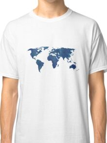 Midnight Blue Watercolor World Map Classic T-Shirt