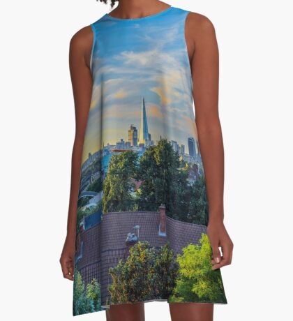 Panoramic of the London skyline at sunset A-Line Dress