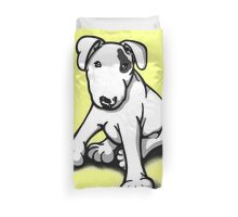Bull Terrier Puppy Black Eye Patch  Duvet Cover