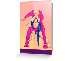BJJ women Tango choke picture colour wash Greeting Card