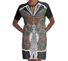Coated in Feather Graphic T-Shirt Dress