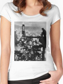 New York City Construction Nightime Silhouette - 1935 Women's Fitted Scoop T-Shirt