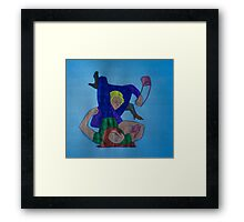 BJJ women vintage - sales but with a bit of arm triangle thrown in! Framed Print