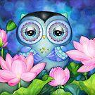 Owl in Lotus Pond by Annya Kai