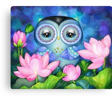 Owl in Lotus Pond Canvas Print