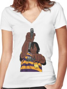 Chief Keef Toting Gun Women's Fitted V-Neck T-Shirt