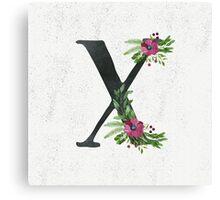 Monogram X with Floral Wreath Canvas Print