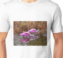 Roseate Spoonbills Swishing For Food Unisex T-Shirt