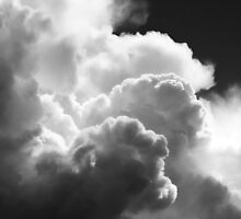 Black And white Sky With Building Puffy Storm Clouds by KWJphotoart