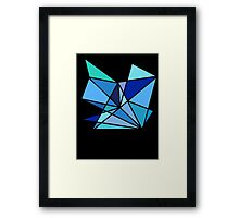 blue and green geometric triangle pattern Framed Print