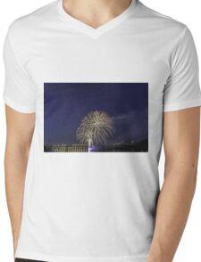 Fireworks over a river Mens V-Neck T-Shirt