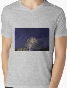 Fireworks over a river Mens V-Neck T-Shirt