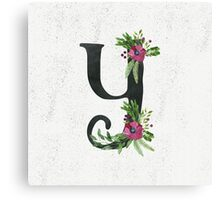 Letter Y with Floral Wreath Canvas Print