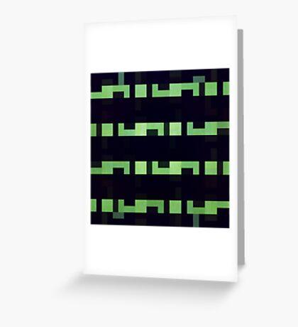 Abstraction #118 Green Black Rectangles Blocks Greeting Card