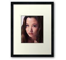 Beautiful young asian woman face art photo print Framed Print