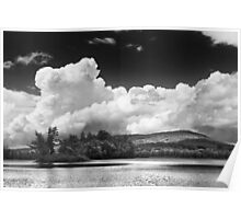 Black And white Vienna Maine Flying Pond With Storm Clouds Poster