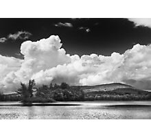 Black And white Vienna Maine Flying Pond With Storm Clouds Photographic Print