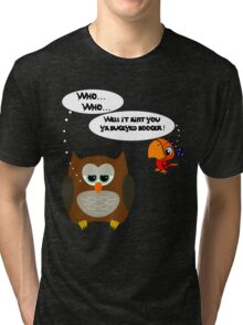 Owl and Petey the Pirate Tri-blend T-Shirt