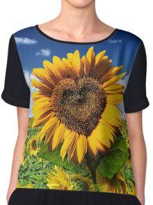 Sunflower Heart Chiffon Top
